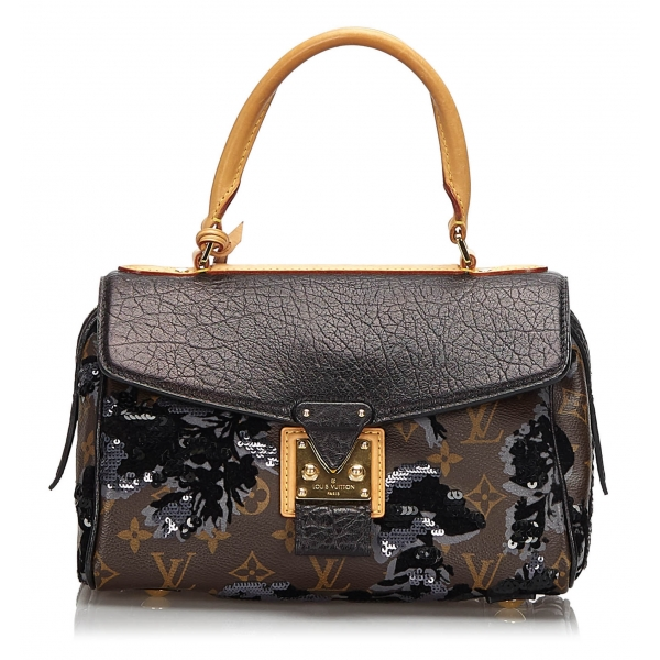 Louis Vuitton Vintage - Fleur de Jais Carrousel Bag - Nero Marroni - Borsa in Tela Monogramma e Pelle - Alta Qualità Luxury
