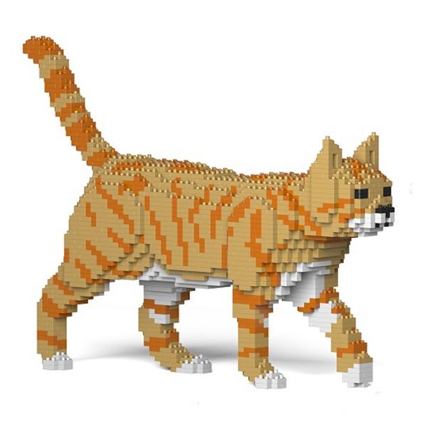 Jekca - American Shorthair - Gatto Arancione - 03S-M01 - Lego - Scultura - Costruzione - 4D - Animali di Mattoncini - Toys