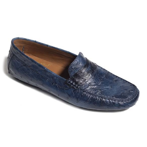 Vittorio Martire - Filippo - Blue - Casual Collection - Ostrich - Italian Handmade Shoes - Luxury Leather