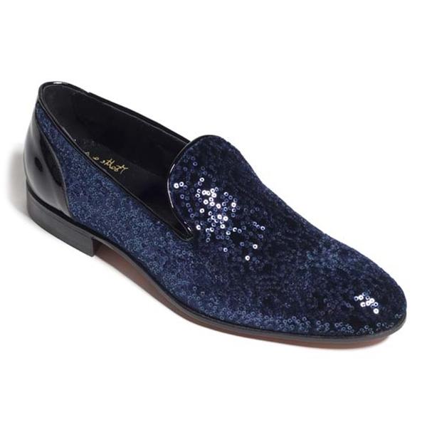 Vittorio Martire - Edmondo - Blu - Red Carpet Collection - Paillettes - Scarpe Artigianali Italiane - Pelle Luxury