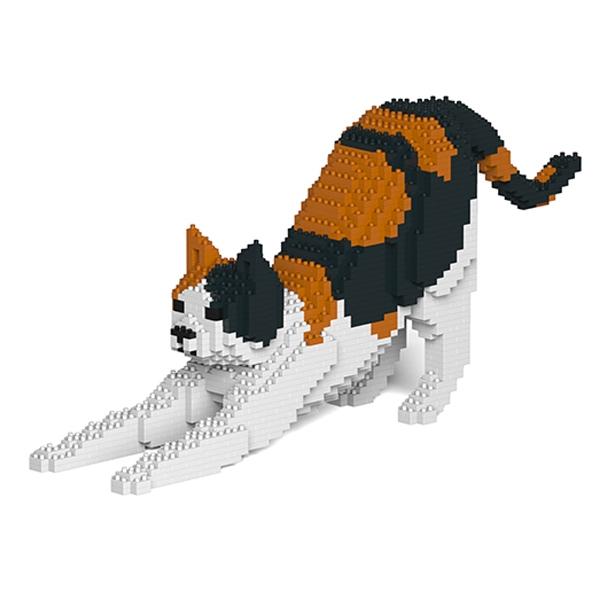 Jekca - Tuxedo - Cat - 03S - Lego - Sculpture - Construction - 4D - Brick Animals - Toys