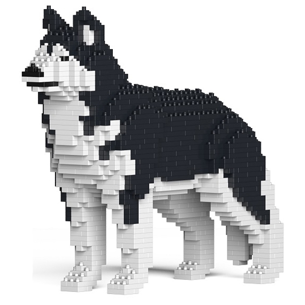 Jekca - Siberian Husky - Rauco - Dog - 01S-M01 - Lego - Sculpture - Construction - 4D - Brick Animals - Toys