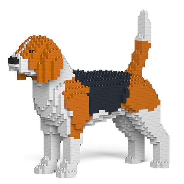 Jekca - Beagle - Dog - 01S - Lego - Sculpture - Construction - 4D - Brick Animals - Toys