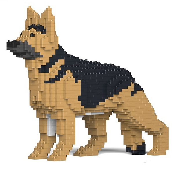 Jekca - German Shepherd - Dog - 01S-M01 - Lego - Sculpture - Construction - 4D - Brick Animals - Toys