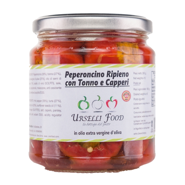 Urselli Food - Chili Pepper Stuffed with Tuna and Capers in Extra Virgin Olive Oil - Italian High Quality Oil - Puglia