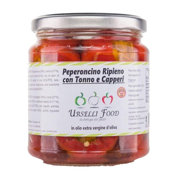 Urselli Food - Peperoncino Ripieno con Tonno e Capperi in Olio Extravergine di Oliva - Olio di Alta Qualità Italiano - Puglia