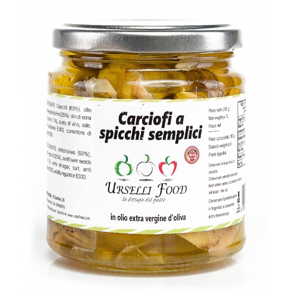 Urselli Food - Simple Sliced Artichokes in Extra Virgin Olive Oil - Italian High Quality Oil - Puglia