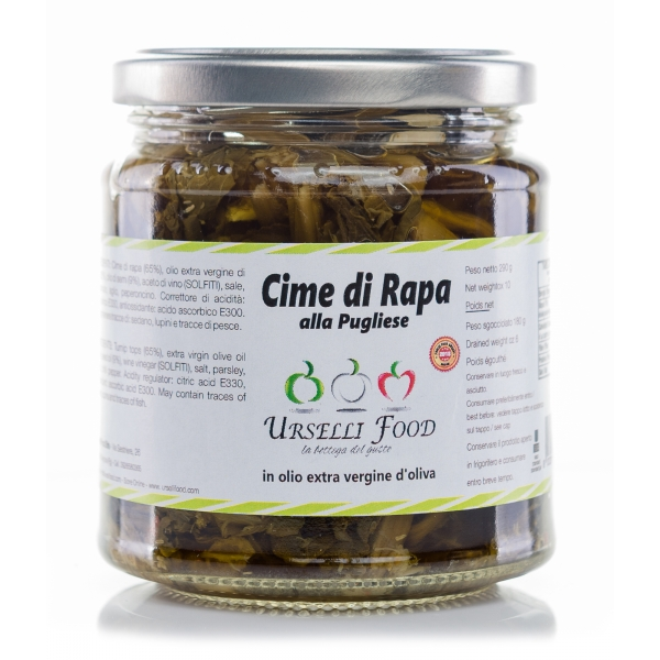 Urselli Food - Apulian Turnip Greens in Extra Virgin Olive Oil - Italian High Quality Oil - Puglia