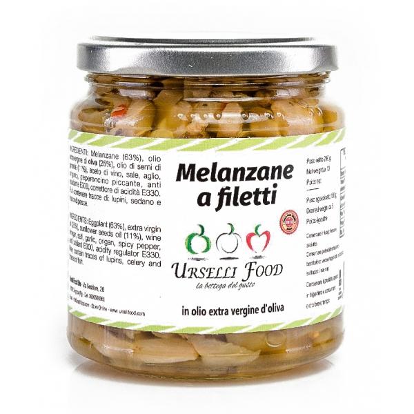 Urselli Food - Melanzane a Filetti in Olio Extravergine di Oliva - Olio di Alta Qualità Italiano - Puglia