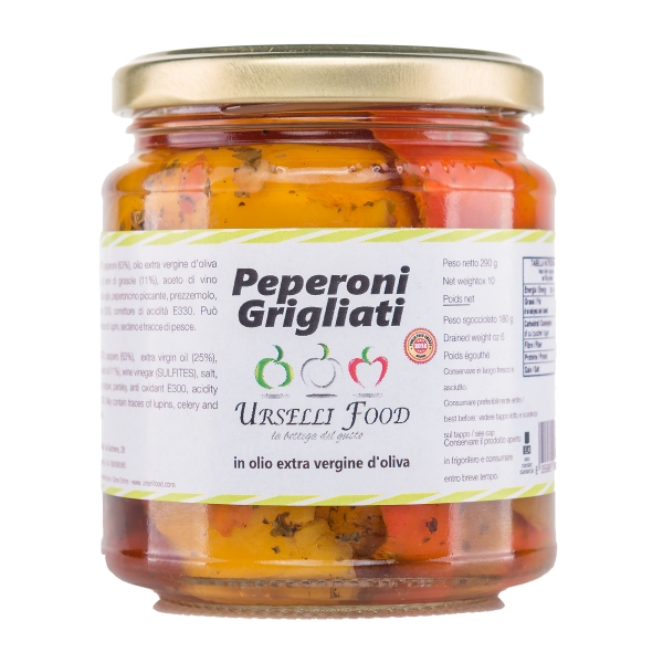 Urselli Food - Grilled Peppers in Extra Virgin Olive Oil - Italian High Quality Oil - Puglia