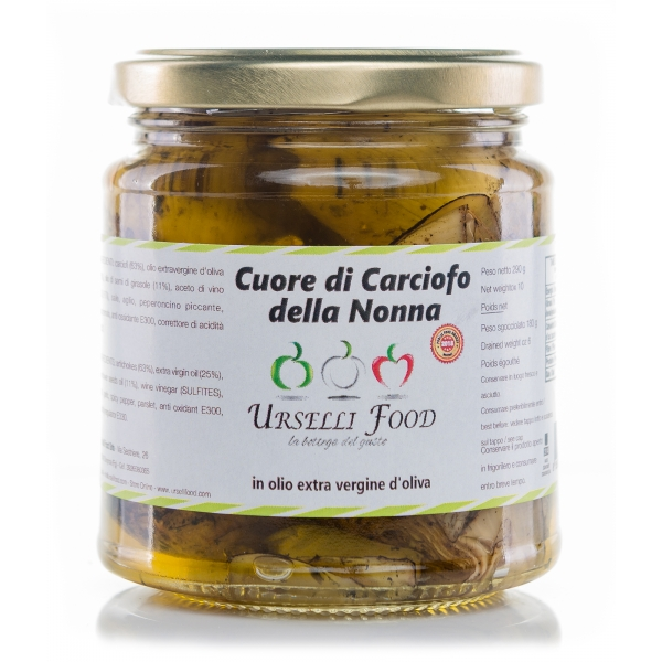 Urselli Food - Grandmother's Artichoke Heart in Extra Virgin Olive Oil - Italian High Quality Oil - Puglia
