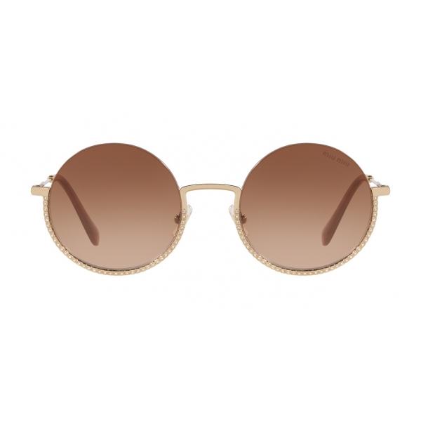 Miu Miu - Occhiali Miu Miu Societe - Rotondi - Oro Pallido - Occhiali da Sole - Miu Miu Eyewear