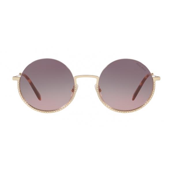 Miu Miu - Occhiali Miu Miu Societe - Rotondi - Grigio Oro Pallido - Occhiali da Sole - Miu Miu Eyewear