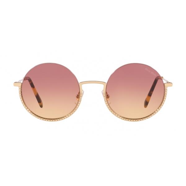 Miu Miu - Occhiali Miu Miu Societe - Rotondi - Viola Oro Pallido - Occhiali da Sole - Miu Miu Eyewear