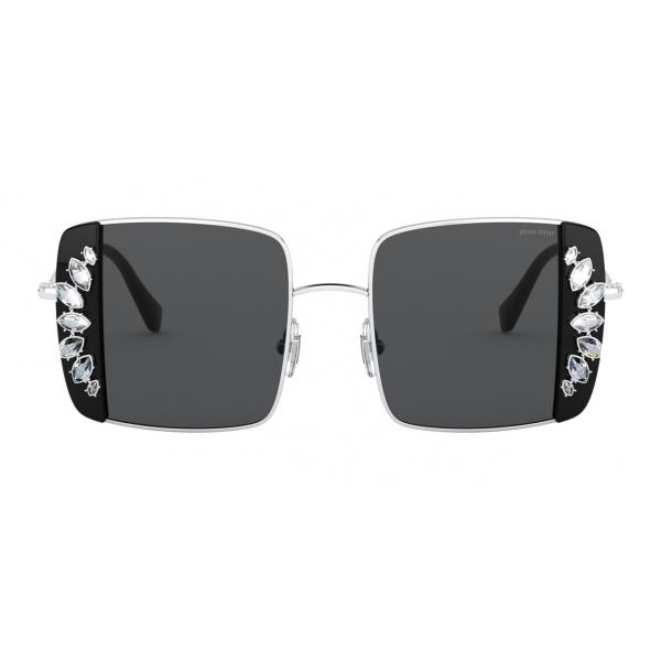 Miu Miu - Miu Miu Noir Sunglasses - Square - Black and Crystals - Sunglasses - Miu Miu Eyewear
