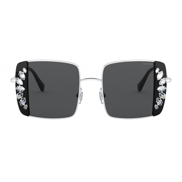 Miu Miu - Occhiali Miu Miu Noir - Squadrati - Nero e Cristalli - Occhiali da Sole - Miu Miu Eyewear