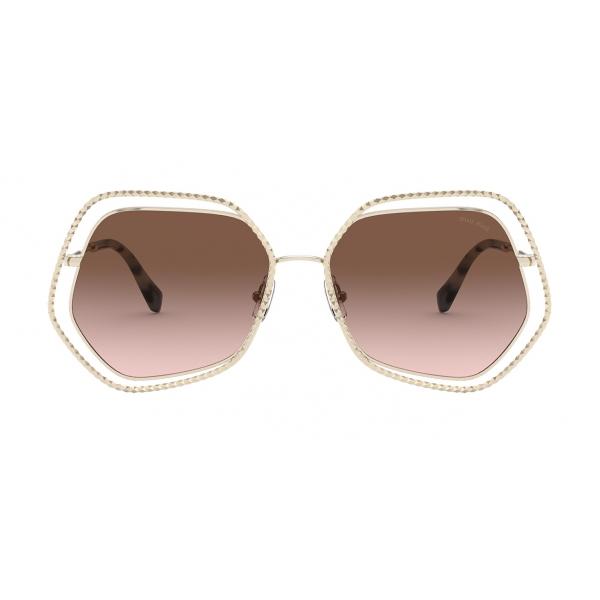 Miu Miu - Miu Miu La Mondaine Sunglasses - Hexagonal - Dark Brown Gradient - Sunglasses - Miu Miu Eyewear