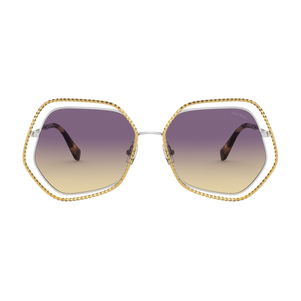 Miu Miu - Miu Miu La Mondaine Sunglasses - Hexagonal - Gold Violet - Sunglasses - Miu Miu Eyewear