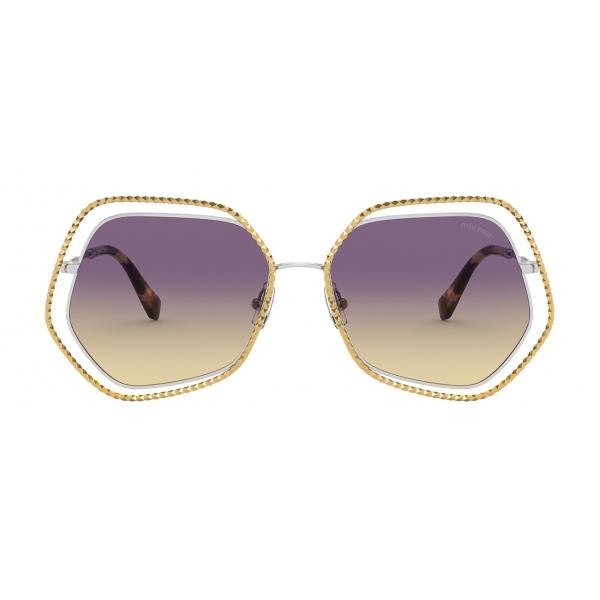 Miu Miu - Occhiali Miu Miu La Mondaine - Esagonale - Oro Viola - Occhiali da Sole - Miu Miu Eyewear