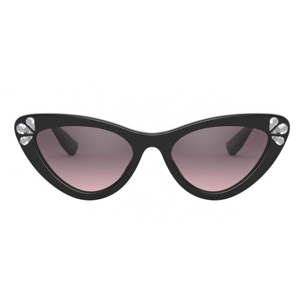 Miu Miu - Occhiali Miu Miu Logo - Alternative Fit - Cat Eye - Nero Cristalli - Occhiali da Sole - Miu Miu Eyewear