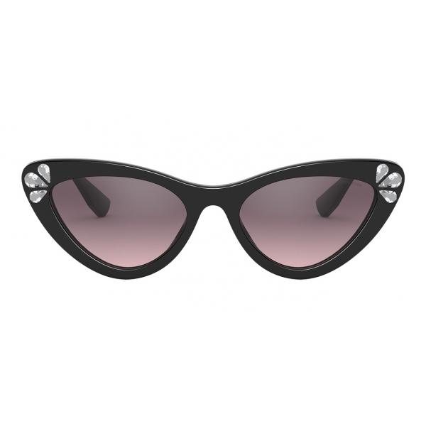Miu Miu - Occhiali Miu Miu Logo - Cat Eye - Nero Cristalli - Occhiali da Sole - Miu Miu Eyewear