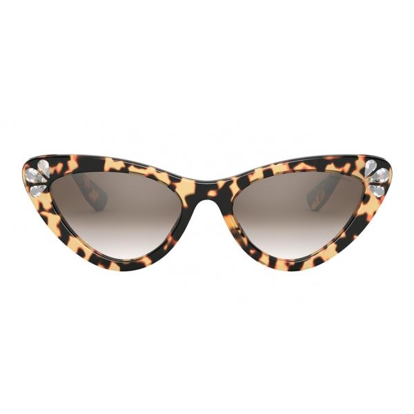 Miu Miu - Occhiali Miu Miu Logo - Cat Eye - Tartaruga e Cristalli - Occhiali da Sole - Miu Miu Eyewear