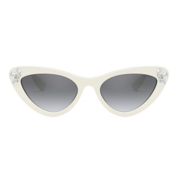 Miu Miu - Miu Miu Logo Sunglasses - Cat Eye - White and Crystals - Sunglasses - Miu Miu Eyewear