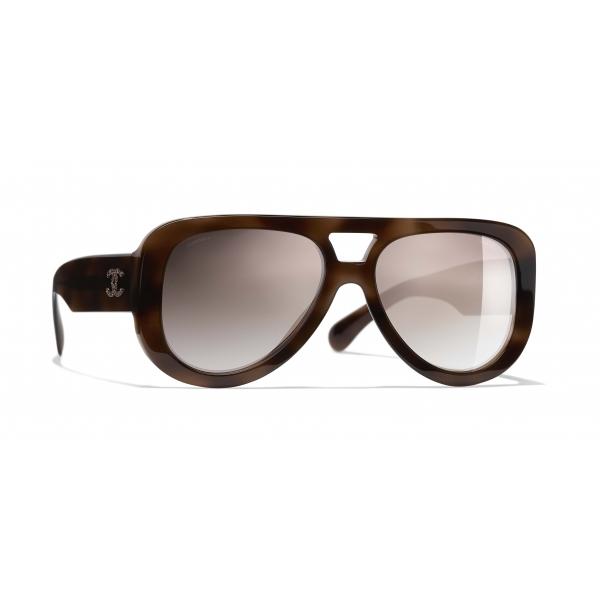 Chanel - Occhiali Pilota da Sole - Tartaruga Marrone Specchiato - Chanel Eyewear