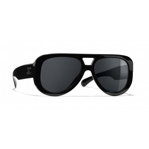 Chanel - Occhiali Pilota da Sole - Nero Grigio - Chanel Eyewear