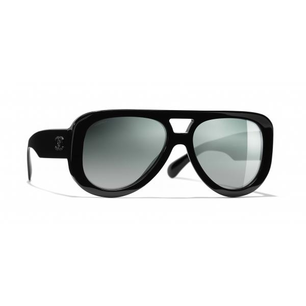 Chanel - Occhiali Pilota da Sole - Nero Verde Specchiato - Chanel Eyewear