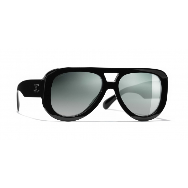Chanel - Pilot Sunglasses - Black Green Mirror - Chanel Eyewear
