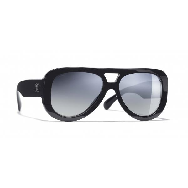 Chanel - Occhiali Pilota da Sole - Blu Scuro Specchiato - Chanel Eyewear