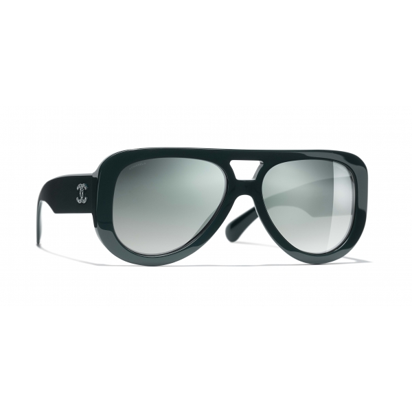 Chanel - Occhiali Pilota da Sole - Verde Scuro Specchiato - Chanel Eyewear