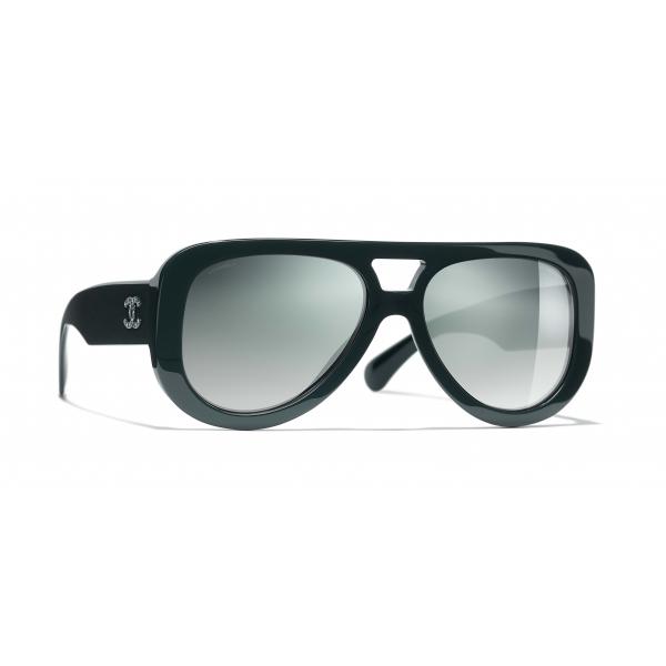 Chanel - Pilot Sunglasses - Dark Green Mirror - Chanel Eyewear