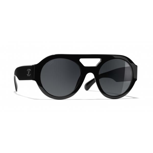 Chanel - Occhiali Rotondi da Sole - Nero Grigio - Chanel Eyewear