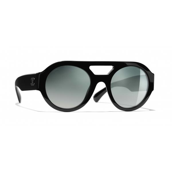 Chanel - Occhiali Rotondi da Sole - Nero Verde Specchiato - Chanel Eyewear