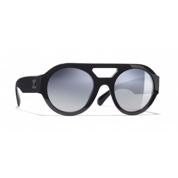 Chanel - Occhiali Rotondi da Sole - Blu Scuro Specchiato - Chanel Eyewear