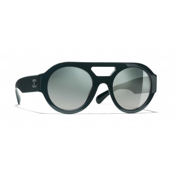 Chanel - Occhiali Rotondi da Sole - Verde Scuro Specchiato - Chanel Eyewear