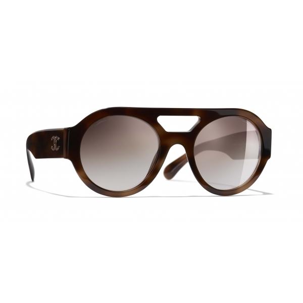 Chanel - Occhiali Rotondi da Sole - Tartaruga Marrone Specchiato - Chanel Eyewear