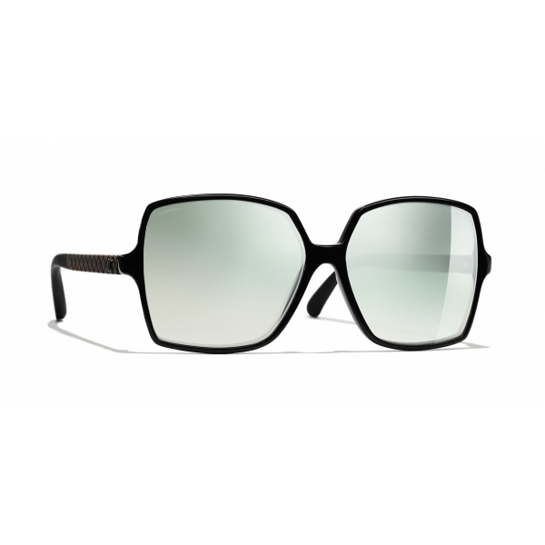 Chanel - Occhiali Quadrati da Sole - Nero Verde Specchiato - Chanel Eyewear