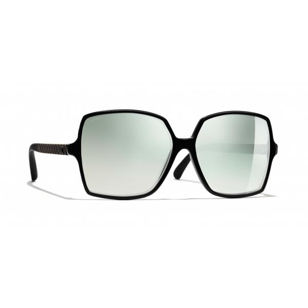 Chanel - Square Sunglasses - Black Green Mirror - Chanel Eyewear