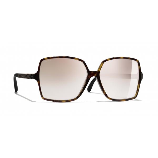 Chanel - Occhiali Quadrati da Sole - Tartaruga Scuro Beige Specchiato - Chanel Eyewear