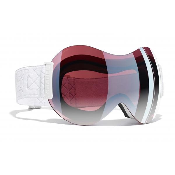 Chanel - Occhiali da Sole - Maschera da Sci - Bianco Rosa Specchiato - Chanel Eyewear