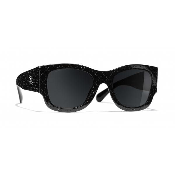 Chanel - Occhiali Rettangolari da Sole - Nero Grigio - Chanel Eyewear