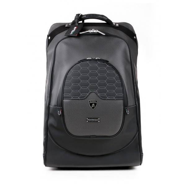 TecknoMonster - Automobili Lamborghini - Trolley - Kargot Wheeled Suitcase - Carbon Fibre and Titanium - Black Carpet Collection
