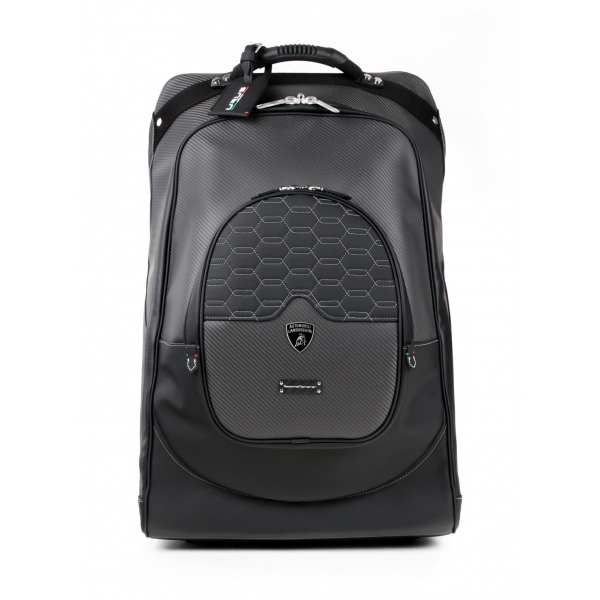 TecknoMonster - Automobili Lamborghini - Trolley - Valigia Kargot con Ruote - Carbonio e Titanio - Black Carpet Collection
