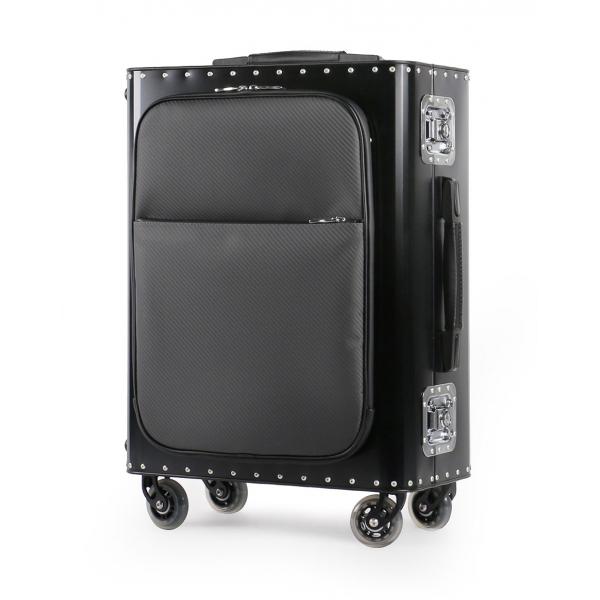 TecknoMonster - Kronos L Flap TecknoMonster - Black - Aeronautical Titanium and Carbon Trolley Suitcase