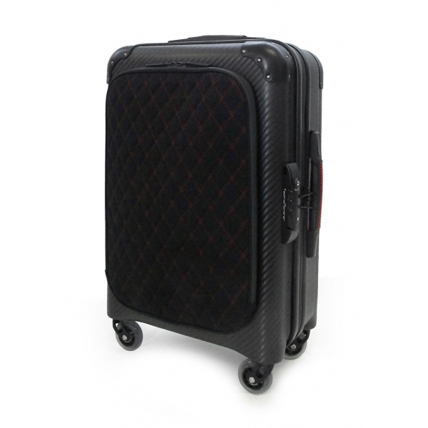 TecknoMonster - Davis Kripto Laggage Cabin L Flap in Carbon Fiber - Aeronautical Carbon Trolley Suitcase