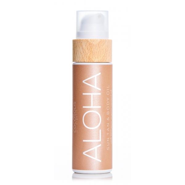 Cocosolis - Aloha - Sun Tan Body Oil - Olio Organico per Abbronzatura - Pelle Idratata e Radiosa - Cosmetici Professionali