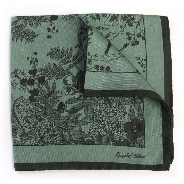Revested Milano - Jardin - Sage - Pocket Square - Foulard Artigianale in Seta - Handmade in Italy